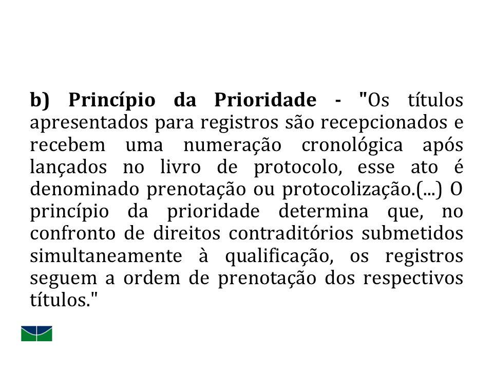 b) Princípio da Prioridade -