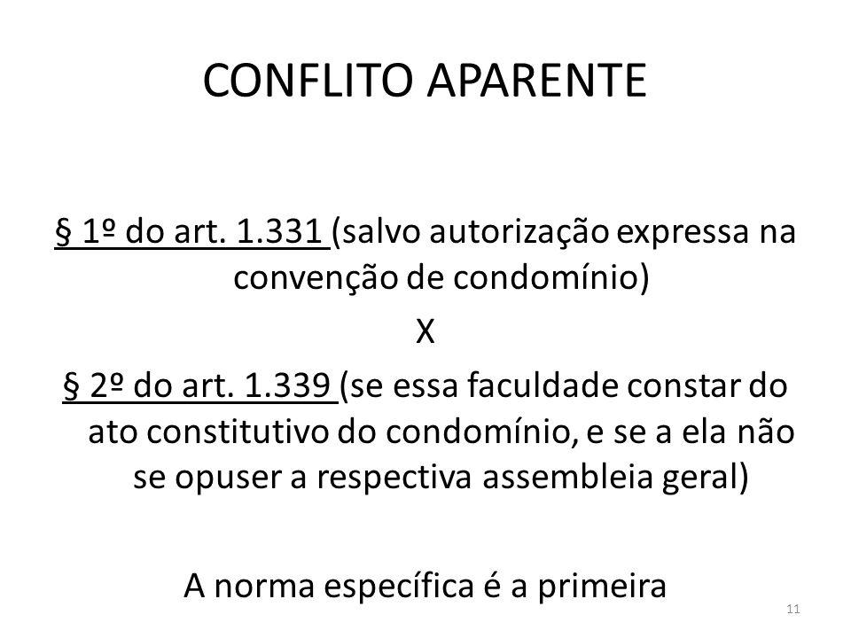 CONFLITO APARENTE § 1º do art. 1.331 (salvo autorização expressa na convenção de condomínio) X § 2º do art. 1.339 (se essa faculdade constar do ato co
