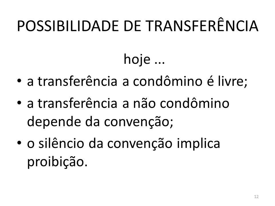 POSSIBILIDADE DE TRANSFERÊNCIA hoje... a transferência a condômino é livre; a transferência a não condômino depende da convenção; o silêncio da conven
