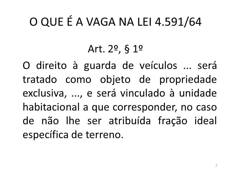 2 O QUE É A VAGA NA LEI 4.591/64 Art. 2º, § 1º O direito à guarda de veículos... será tratado como objeto de propriedade exclusiva,..., e será vincula