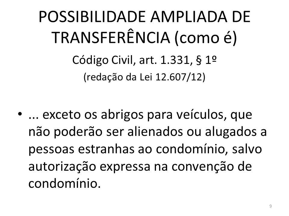 POSSIBILIDADE AMPLIADA DE TRANSFERÊNCIA (como é) Código Civil, art. 1.331, § 1º (redação da Lei 12.607/12)... exceto os abrigos para veículos, que não
