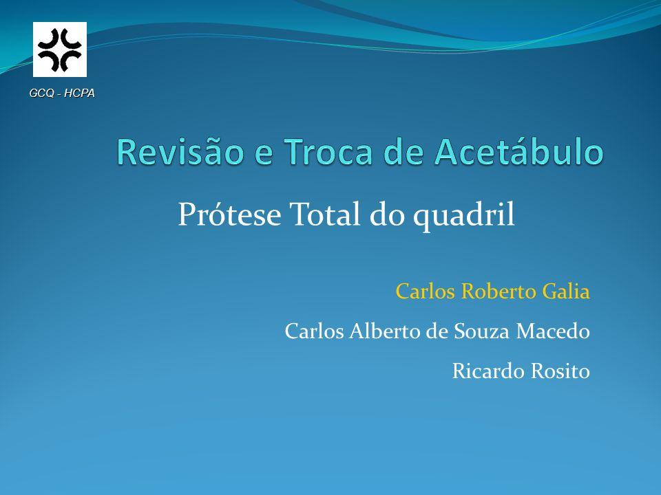Carlos Roberto Galia Carlos Alberto de Souza Macedo Ricardo Rosito GCQ - HCPA Prótese Total do quadril