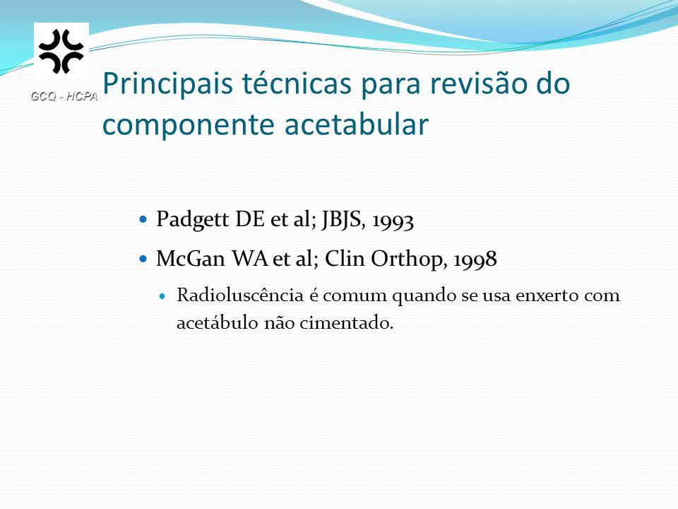Principais técnicas para revisão do componente acetabular Padgett DE et al; JBJS, 1993 McGan WA et al; Clin Orthop, 1998 Radioluscência é comum quando