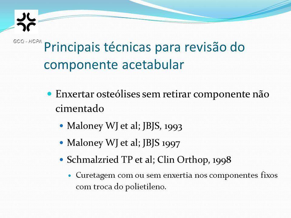 Principais técnicas para revisão do componente acetabular Enxertar osteólises sem retirar componente não cimentado Maloney WJ et al; JBJS, 1993 Malone