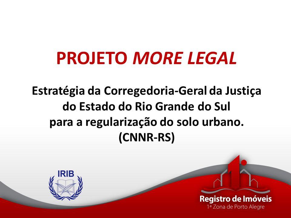PROJETO MORE LEGAL Estratégia da Corregedoria-Geral da Justiça do Estado do Rio Grande do Sul para a regularização do solo urbano.