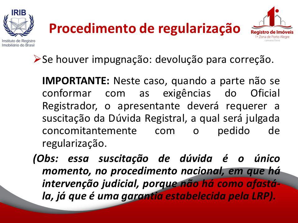 Procedimento de regularização Se houver impugnação: devolução para correção.
