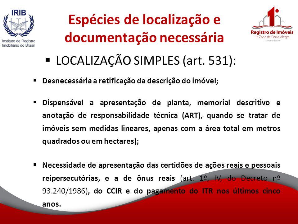 Espécies de localização e documentação necessária LOCALIZAÇÃO SIMPLES (art.