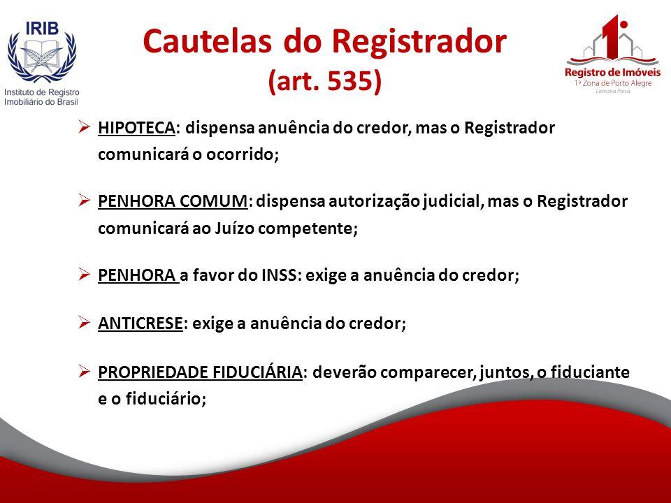 Cautelas do Registrador (art.