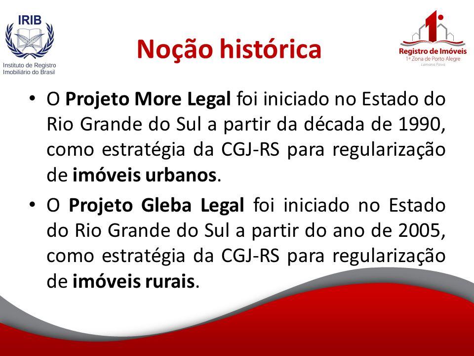 Noção histórica O Projeto More Legal foi iniciado no Estado do Rio Grande do Sul a partir da década de 1990, como estratégia da CGJ-RS para regularização de imóveis urbanos.