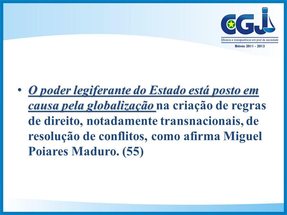 O poder legiferante do Estado está posto em causa pela globalizaçãoO poder legiferante do Estado está posto em causa pela globalização na criação de regras de direito, notadamente transnacionais, de resolução de conflitos, como afirma Miguel Poiares Maduro.