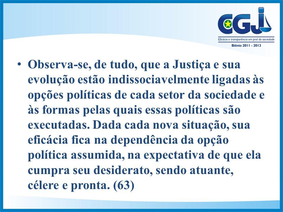 Observa-se, de tudo, que a Justiça e sua evolução estão indissociavelmente ligadas às opções políticas de cada setor da sociedade e às formas pelas quais essas políticas são executadas.
