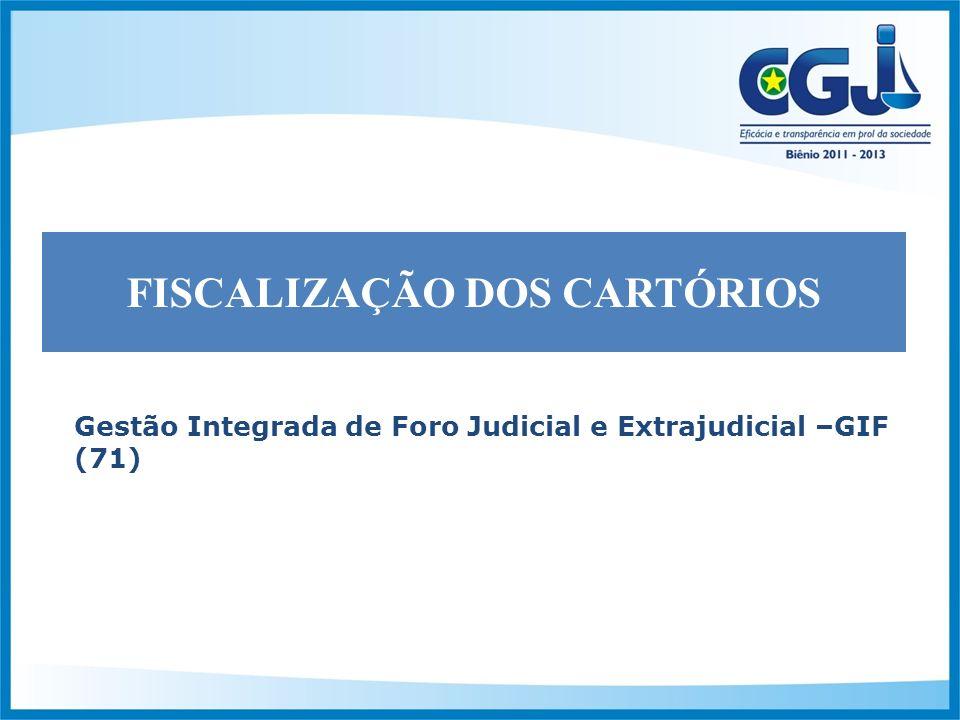 Gestão Integrada de Foro Judicial e Extrajudicial –GIF (71) FISCALIZAÇÃO DOS CARTÓRIOS