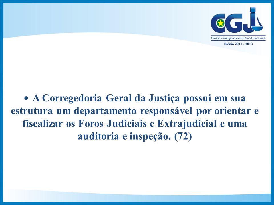 A Corregedoria Geral da Justiça possui em sua estrutura um departamento responsável por orientar e fiscalizar os Foros Judiciais e Extrajudicial e uma auditoria e inspeção.