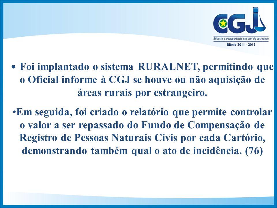 Foi implantado o sistema RURALNET, permitindo que o Oficial informe à CGJ se houve ou não aquisição de áreas rurais por estrangeiro.