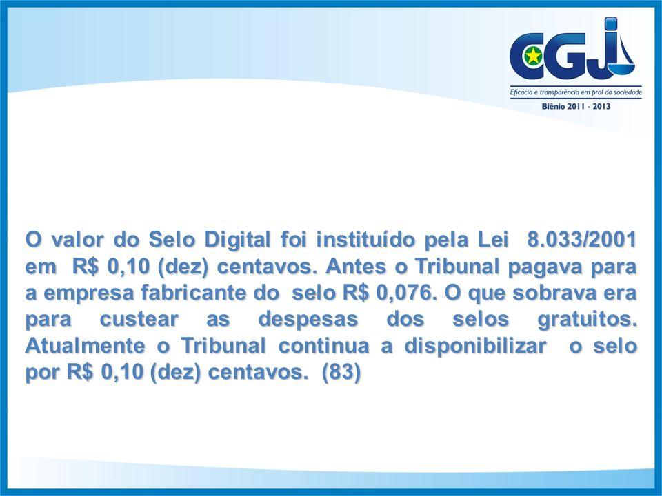 O valor do Selo Digital foi instituído pela Lei 8.033/2001 em R$ 0,10 (dez) centavos.