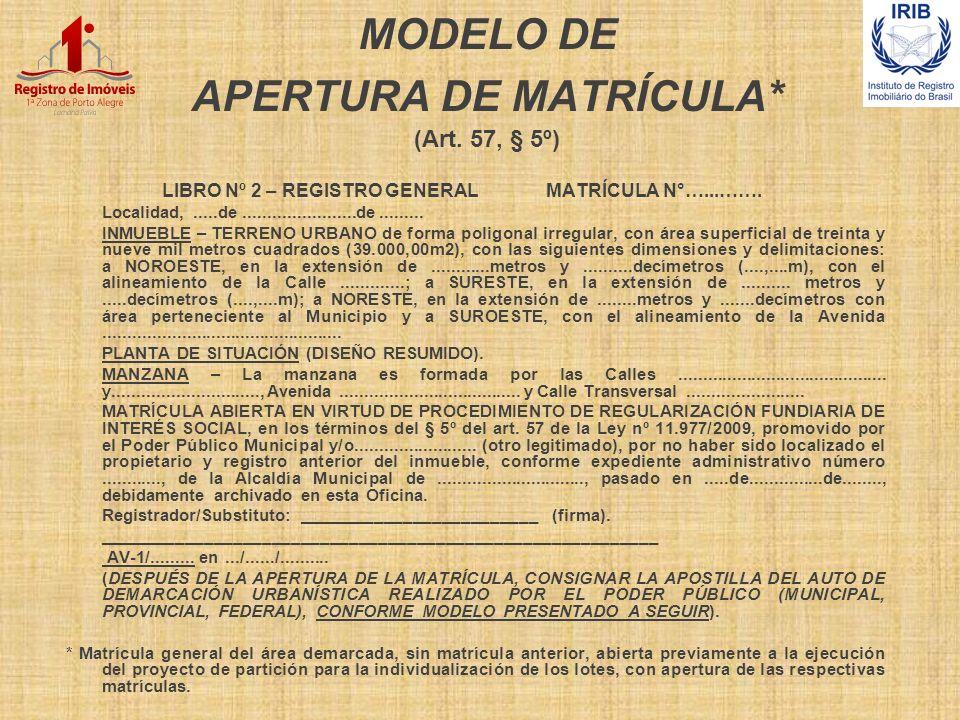 MODELO DE APERTURA DE MATRÍCULA* (Art. 57, § 5º) LIBRO Nº 2 – REGISTRO GENERALMATRÍCULA N°…...……. Localidad,.....de.......................de.........