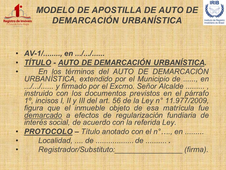 MODELO DE APOSTILLA DE AUTO DE DEMARCACIÓN URBANÍSTICA AV-1/........, en.../.../...... TÍTULO - AUTO DE DEMARCACIÓN URBANÍSTICA. En los términos del A
