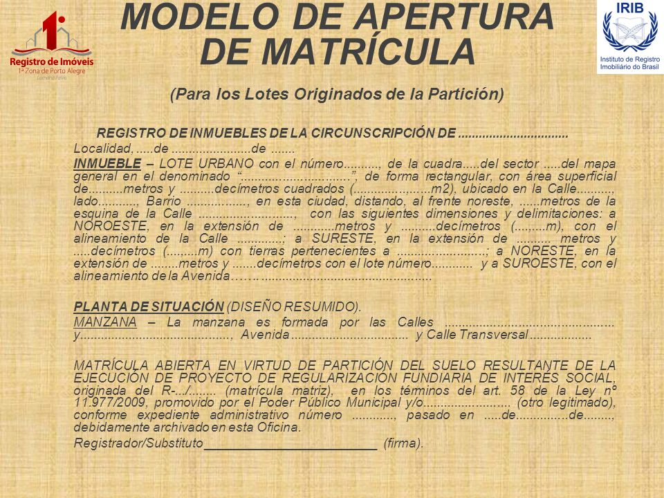 MODELO DE APERTURA DE MATRÍCULA (Para los Lotes Originados de la Partición) REGISTRO DE INMUEBLES DE LA CIRCUNSCRIPCIÓN DE............................