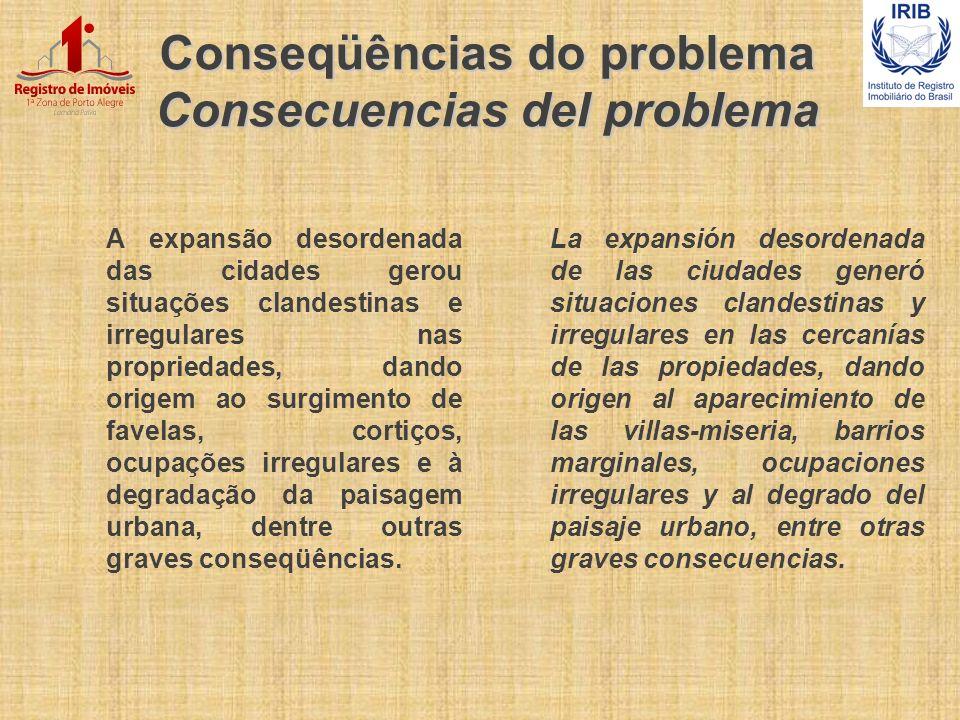 Conseqüências do problema Consecuencias del problema A expansão desordenada das cidades gerou situações clandestinas e irregulares nas propriedades, d
