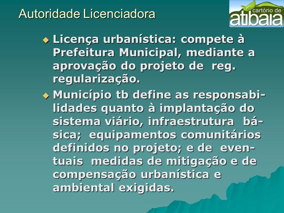 Autoridade Licenciadora Autoridade Licenciadora Licença urbanística: compete à Prefeitura Municipal, mediante a aprovação do projeto de reg. regulariz