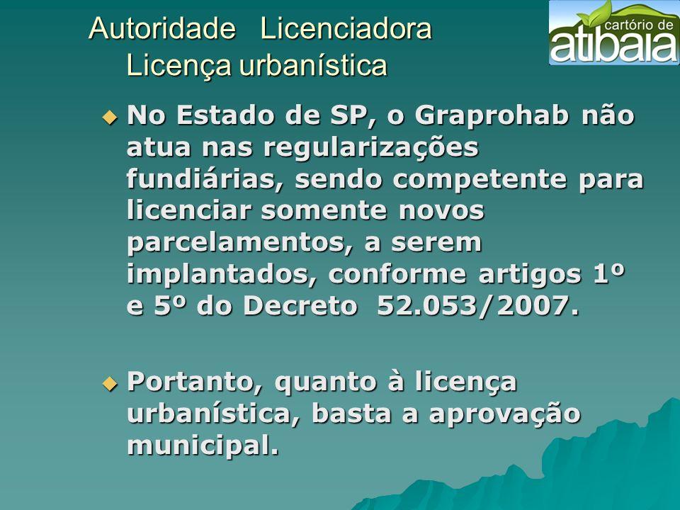 Autoridade Licenciadora Licença urbanística Autoridade Licenciadora Licença urbanística No Estado de SP, o Graprohab não atua nas regularizações fundi
