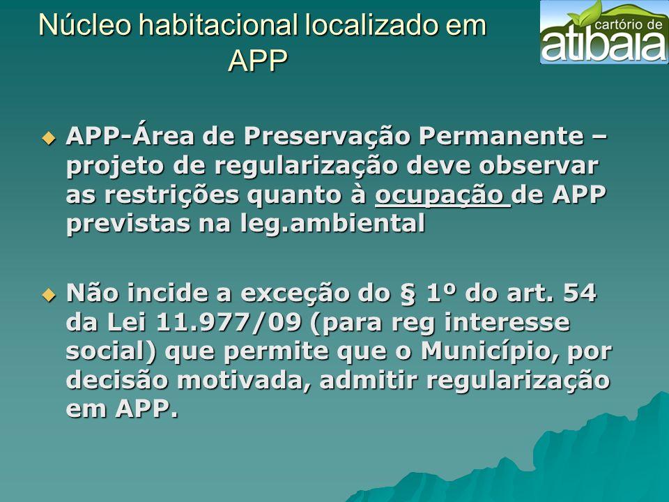 Núcleo habitacional localizado em APP Núcleo habitacional localizado em APP APP-Área de Preservação Permanente – projeto de regularização deve observa