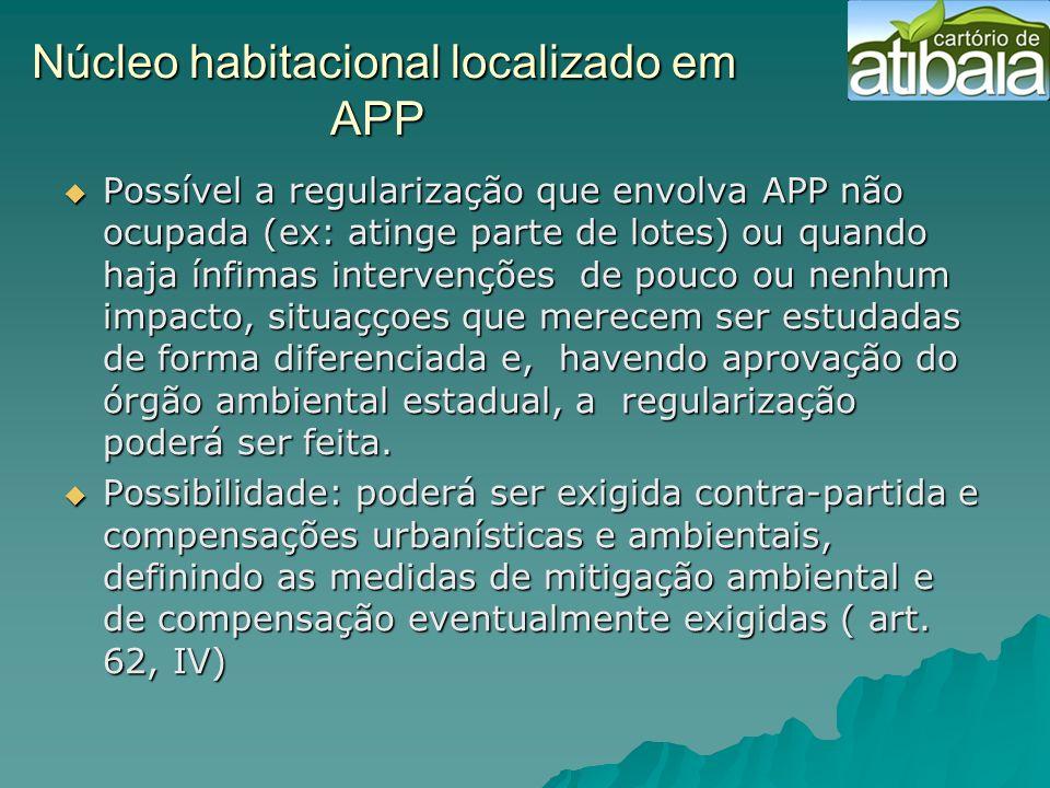 Núcleo habitacional localizado em APP Núcleo habitacional localizado em APP Possível a regularização que envolva APP não ocupada (ex: atinge parte de