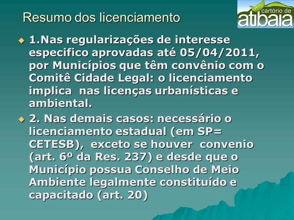 Resumo dos licenciamento Resumo dos licenciamento 1.Nas regularizações de interesse especifico aprovadas até 05/04/2011, por Municípios que têm convên
