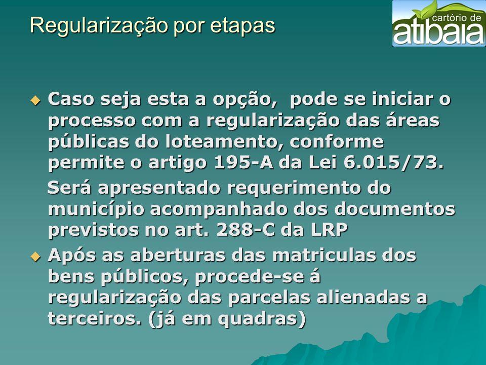 Regularização por etapas Regularização por etapas Caso seja esta a opção, pode se iniciar o processo com a regularização das áreas públicas do loteame