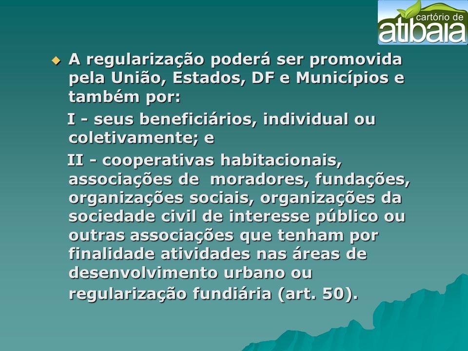 A regularização poderá ser promovida pela União, Estados, DF e Municípios e também por: A regularização poderá ser promovida pela União, Estados, DF e