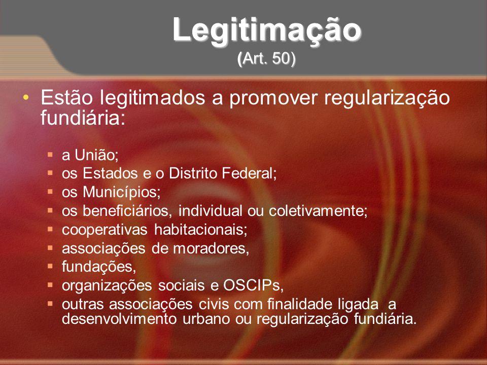 Legitimação (Art. 50) Estão legitimados a promover regularização fundiária: a União; os Estados e o Distrito Federal; os Municípios; os beneficiários,
