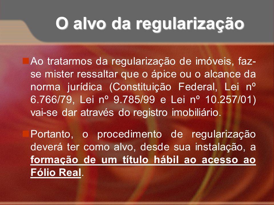 O alvo da regularização nAo tratarmos da regularização de imóveis, faz- se mister ressaltar que o ápice ou o alcance da norma jurídica (Constituição F