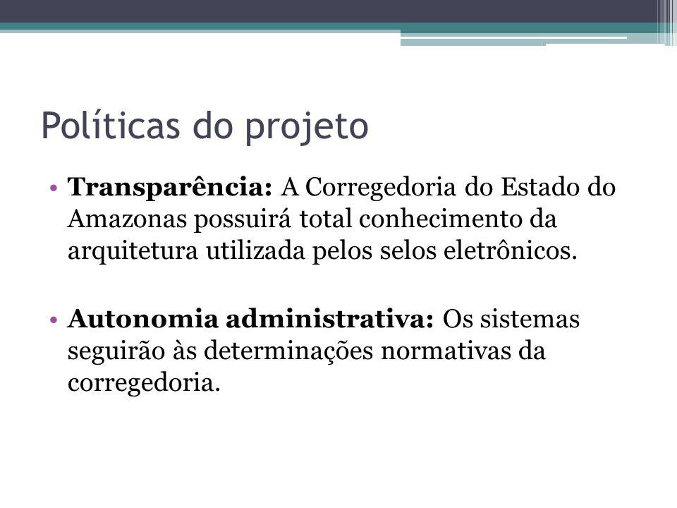 Políticas do projeto Transparência: A Corregedoria do Estado do Amazonas possuirá total conhecimento da arquitetura utilizada pelos selos eletrônicos.