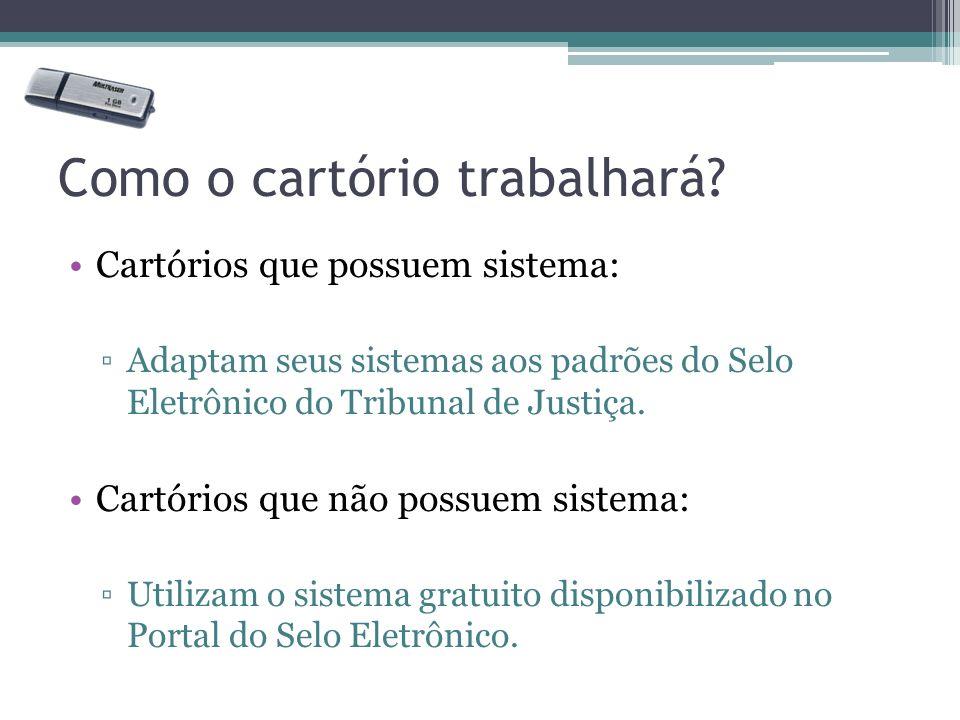 Como o cartório trabalhará? Cartórios que possuem sistema: Adaptam seus sistemas aos padrões do Selo Eletrônico do Tribunal de Justiça. Cartórios que