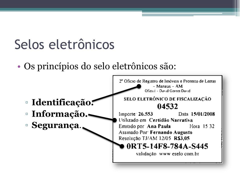 Os princípios do selo eletrônicos são: Identificação. Informação. Segurança. Selos eletrônicos