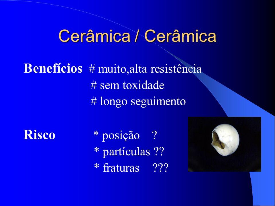 Cerâmica / Cerâmica Benefícios # muito,alta resistência # sem toxidade # longo seguimento Risco * posição ? * partículas ?? * fraturas ???