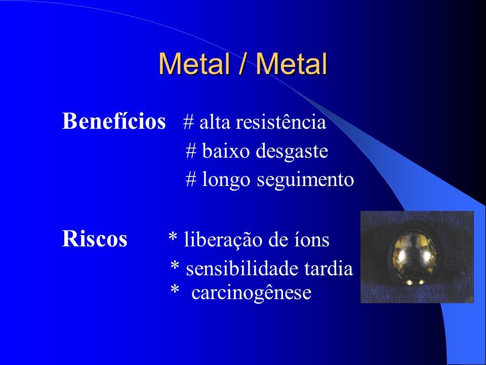 Metal / Metal Benefícios # alta resistência # baixo desgaste # longo seguimento Riscos * liberação de íons * sensibilidade tardia * carcinogênese