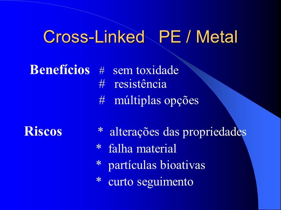 Cross-Linked PE / Metal Benefícios # sem toxidade # resistência # múltiplas opções Riscos * alterações das propriedades * falha material * partículas