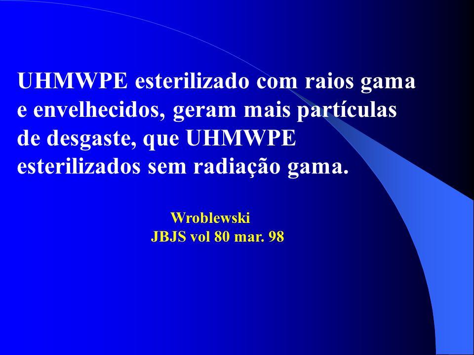 UHMWPE esterilizado com raios gama e envelhecidos, geram mais partículas de desgaste, que UHMWPE esterilizados sem radiação gama. Wroblewski JBJS vol
