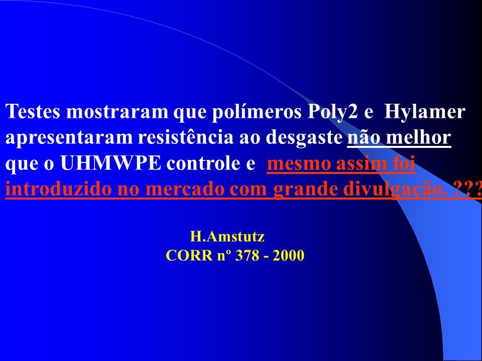 Testes mostraram que polímeros Poly2 e Hylamer apresentaram resistência ao desgaste não melhor que o UHMWPE controle e mesmo assim foi introduzido no