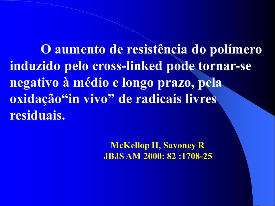 O aumento de resistência do polímero induzido pelo cross-linked pode tornar-se negativo à médio e longo prazo, pela oxidaçãoin vivo de radicais livres