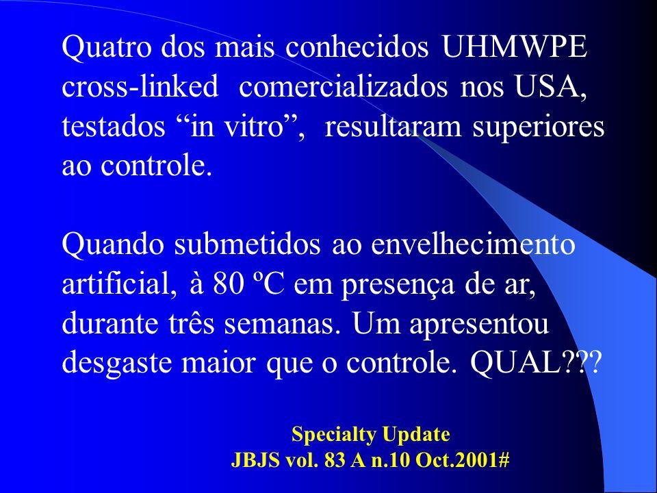 Quatro dos mais conhecidos UHMWPE cross-linked comercializados nos USA, testados in vitro, resultaram superiores ao controle. Quando submetidos ao env