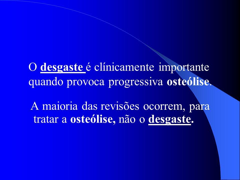 A maioria das revisões ocorrem, para tratar a osteólise, não o desgaste. O desgaste é clínicamente importante quando provoca progressiva osteólise.