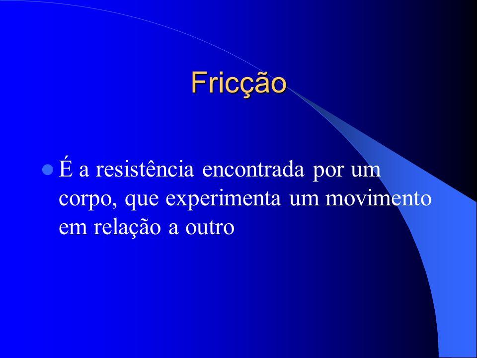Fricção É a resistência encontrada por um corpo, que experimenta um movimento em relação a outro