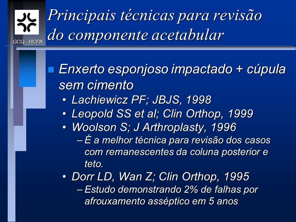 Principais técnicas para revisão do componente acetabular n Enxerto esponjoso impactado + cúpula sem cimento Lachiewicz PF; JBJS, 1998Lachiewicz PF; J