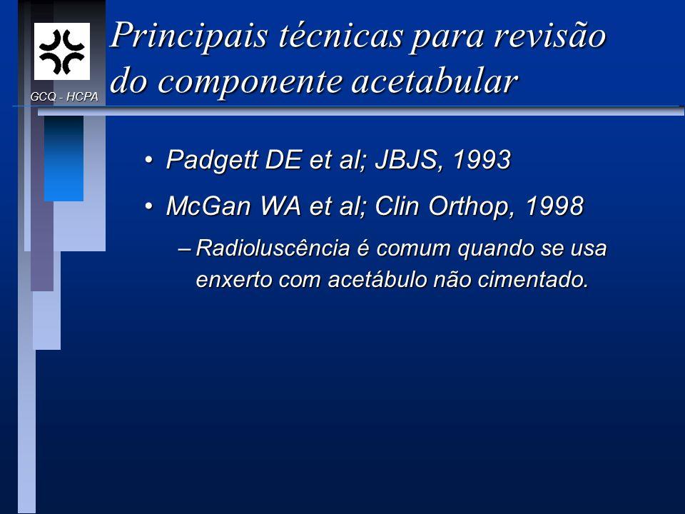 Principais técnicas para revisão do componente acetabular Padgett DE et al; JBJS, 1993Padgett DE et al; JBJS, 1993 McGan WA et al; Clin Orthop, 1998Mc