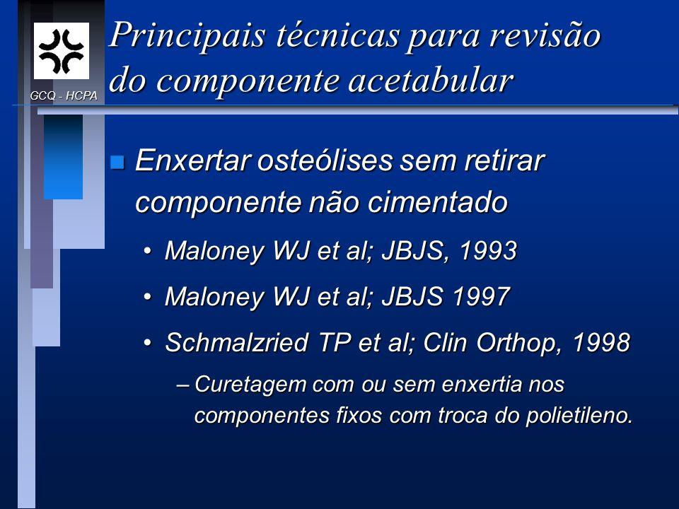 Principais técnicas para revisão do componente acetabular n Enxertar osteólises sem retirar componente não cimentado Maloney WJ et al; JBJS, 1993Malon