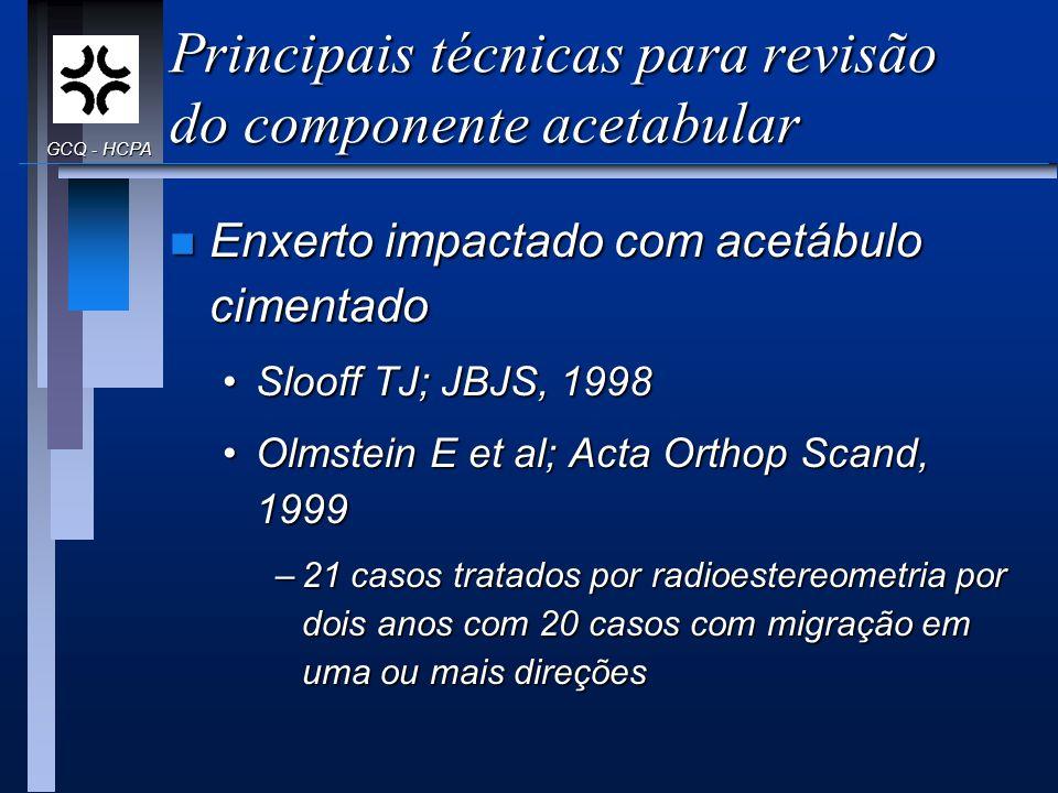 Principais técnicas para revisão do componente acetabular n Enxerto impactado com acetábulo cimentado Slooff TJ; JBJS, 1998Slooff TJ; JBJS, 1998 Olmst