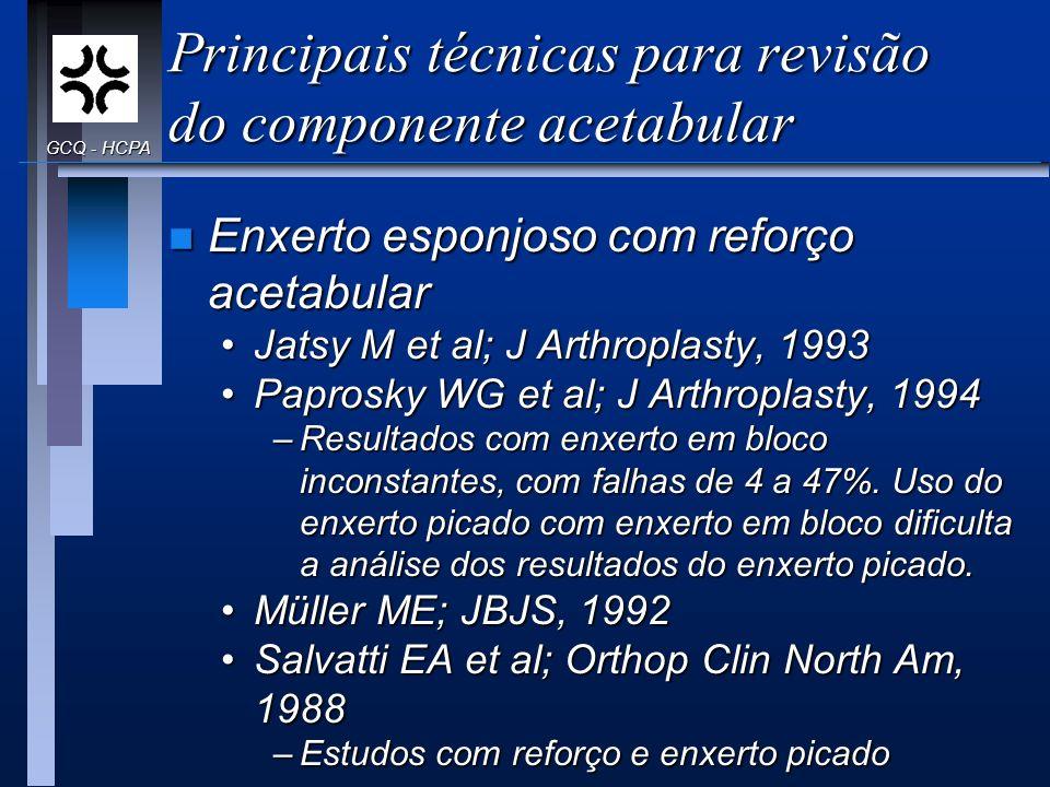 Principais técnicas para revisão do componente acetabular n Enxerto esponjoso com reforço acetabular Jatsy M et al; J Arthroplasty, 1993Jatsy M et al;