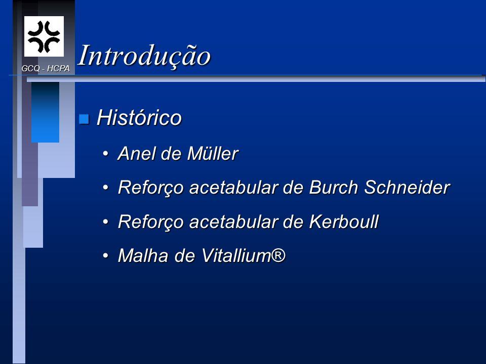 Introdução n Histórico Anel de MüllerAnel de Müller Reforço acetabular de Burch SchneiderReforço acetabular de Burch Schneider Reforço acetabular de K